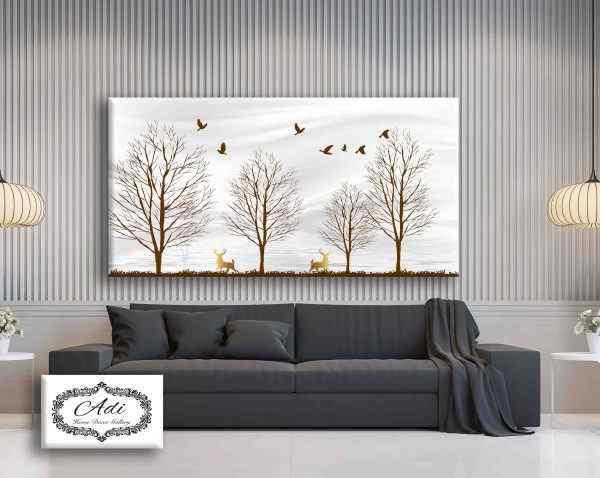 תמונה של עצים ואיילים זהב חיות