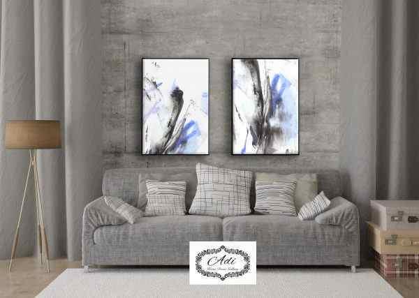 זוג תמונות אבסטרקט אפור כחול