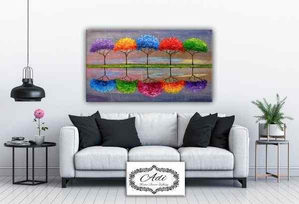 תמונה של עצים השתקפות אומנותי צבעוני