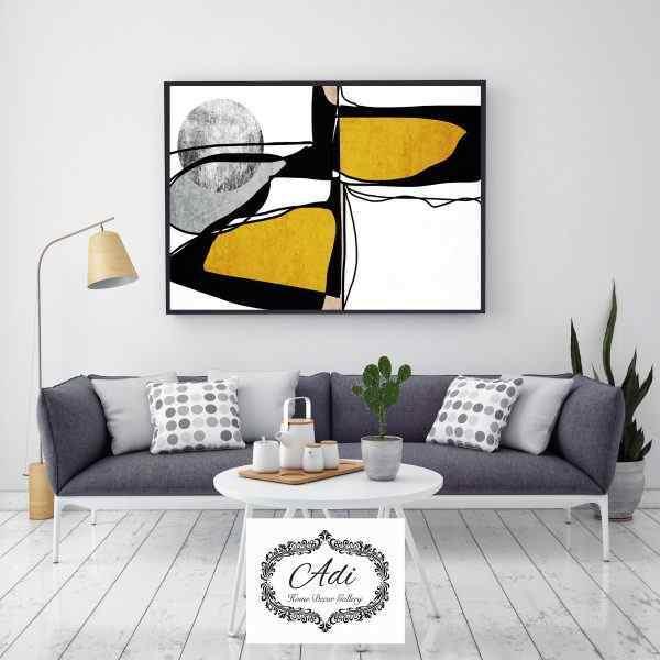 תמונת אבסטרקט של ציור בצבעים צהוב שחור