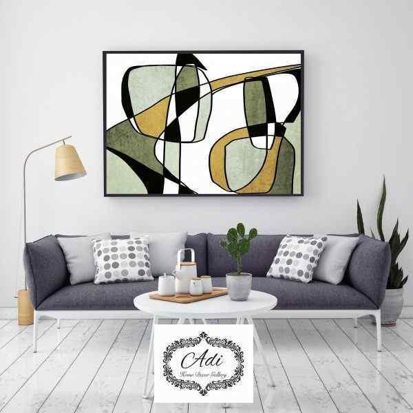 תמונת אבסטרקט של ציור בצבעים ירוק חרדל