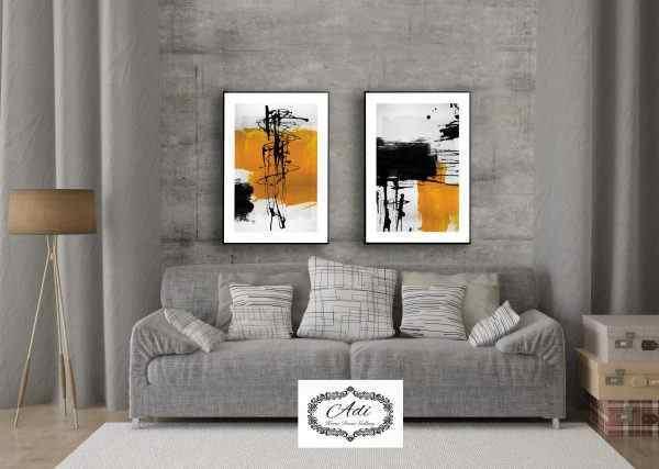 זוג תמונות אבסטרקט צהוב שחור