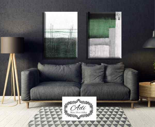 זוג תמונות אבסטרקט בצבע שחור ירוק