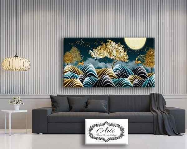 תמונה איילים עצים טורכיז זהב צהוב ציפורים