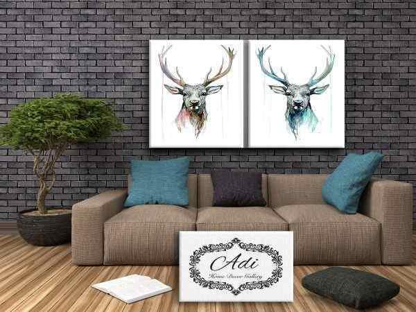 זוג תמונות איילים צבעוניים אומנות ורוד טורכיז