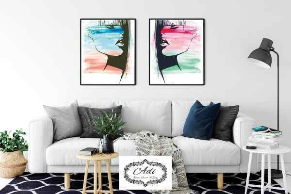 זוג תמונות אומנותיות אבסטרקט מריחות צבע נשים צבעוניות