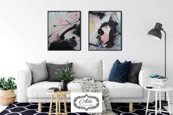 זוג תמונות אבסטרקט מריחות צבע אומנותית שחור ורוד צהוב תכול לבן