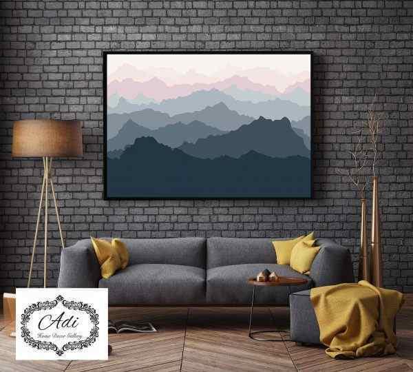 תמונה של אבסטרקט הרים אפור ורוד