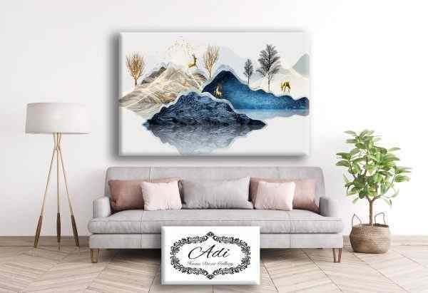 תמונה איילים הרים עצים רקע בהיר גווני כחול טורכיז