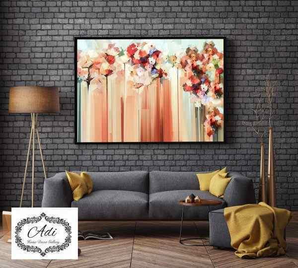 תמונה אבסטרקט פרחים מריחות צבע צבעוני