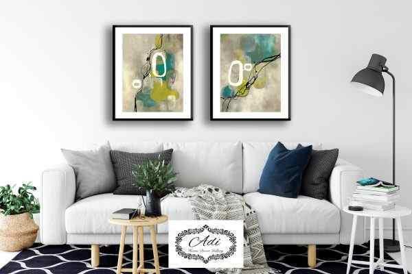 זוג תמונות אבסטרקט ירוק טורכיז חרדל צהוב