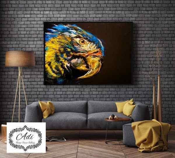 תמונה של טוקי צבעוני ציפור אומנותי טורכיז חרדל רקע כהה