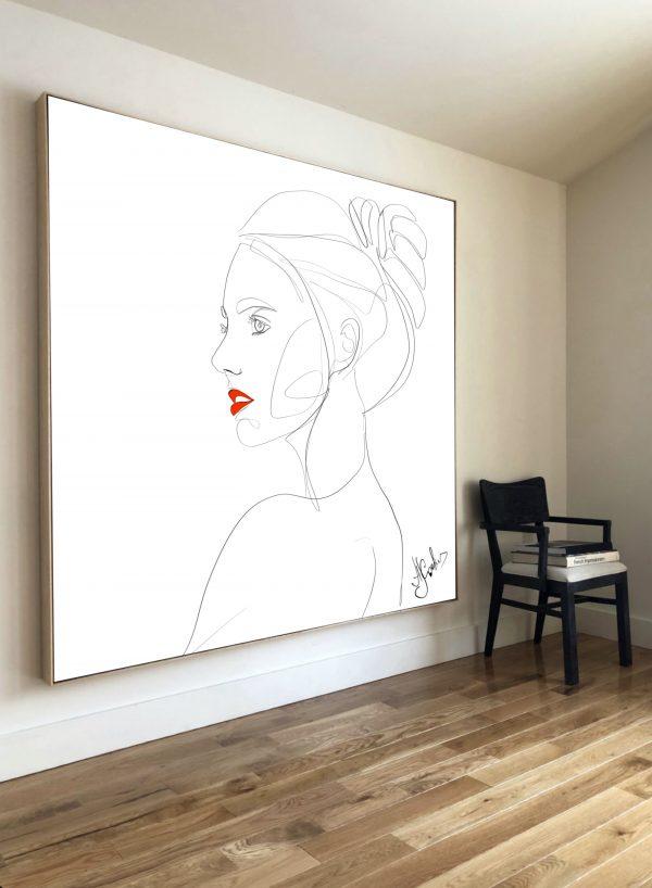 תמונה אומנותית ארט ליין רקע לבן דמות של אישה