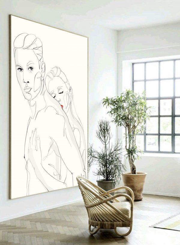 תמונה אומנות ארט ליין גבר ואישה