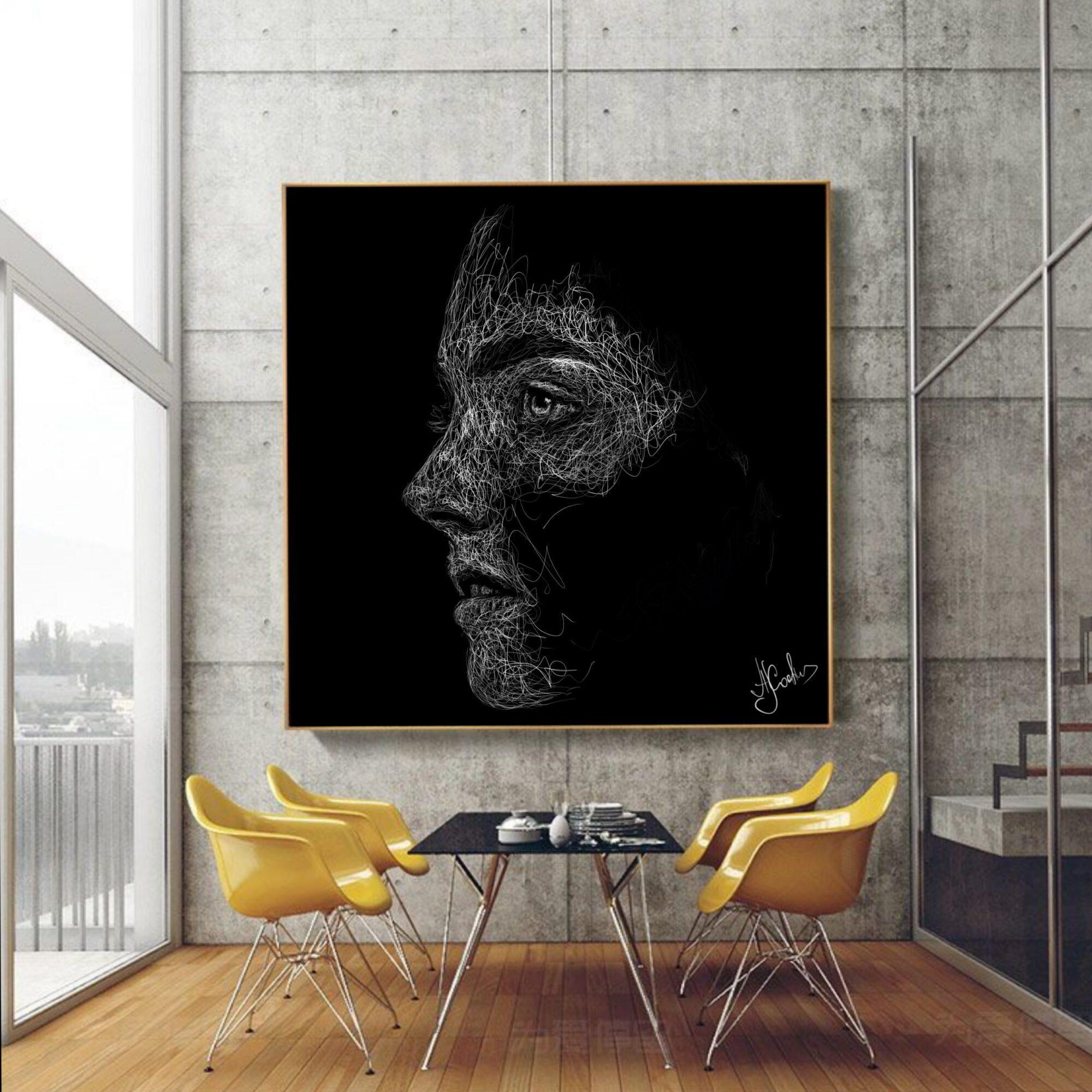 תמונה אומנות פורטרט ארט ליין רקע שחור