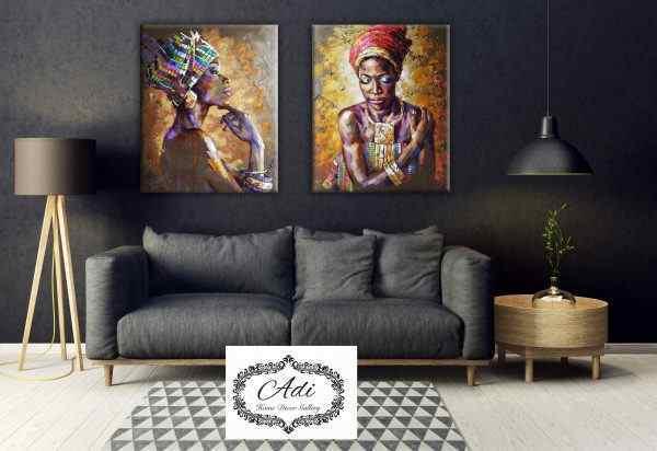 זוג תמונות של נשים אפריקאיות מרשימות גווני חרדל וצבעוני