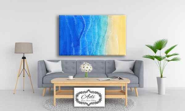 תמונה של נוף ים אומנותי גווני כחול טורכיז וחום