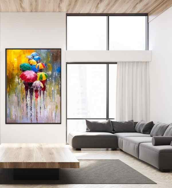 תמונה אומנותית של מטריות צבעוניות