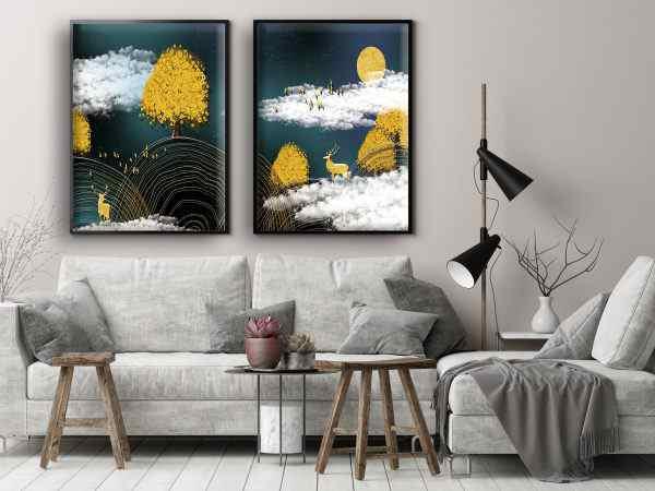 זוג תמונות אבסטרקט ואיילים בצבע זהב
