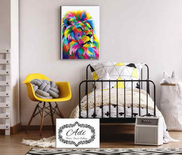 תמונה של אריה צבעוני בסגנון פופ ארט לחדר ילדים