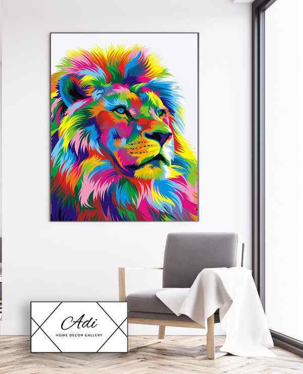 תמונה של אריה צבעוני בסגנון פופ ארט