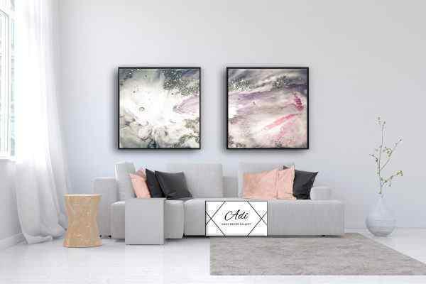 זוג תמונות אבסטרקט נפלאות בצבע ורוד וכסוף