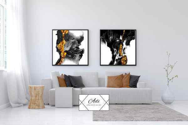 זוג תמונות של אבסטרקט בצבע זהב שחור לבן