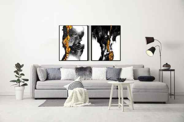 זוג תמונות של אבסטרקט שחור לבן זהב