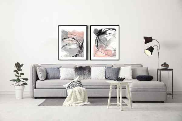 זוג תמונות אבסטרקט בצבע ורוד ושחור