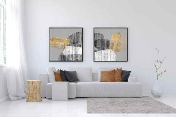 זוג תמונות של אבסטרקט בצבע זהב שחור לבן אפור מסגרת שחורה