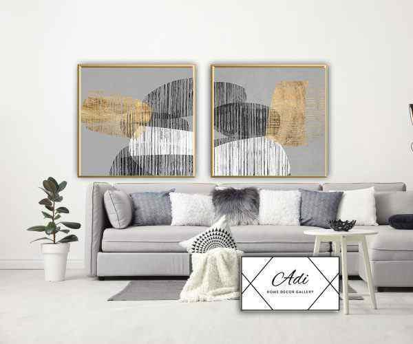 זוג תמונות של אבסטרקט בצבע זהב שחור לבן אפור מסגרת זהב