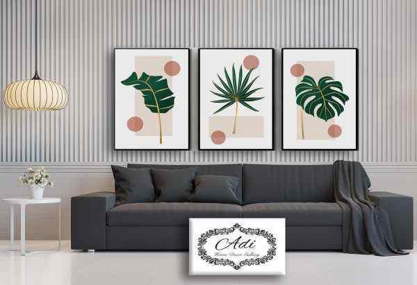 שלישית תמונות קנבס של ציור מינימליסטי עלים וצבע ירוק וזהב