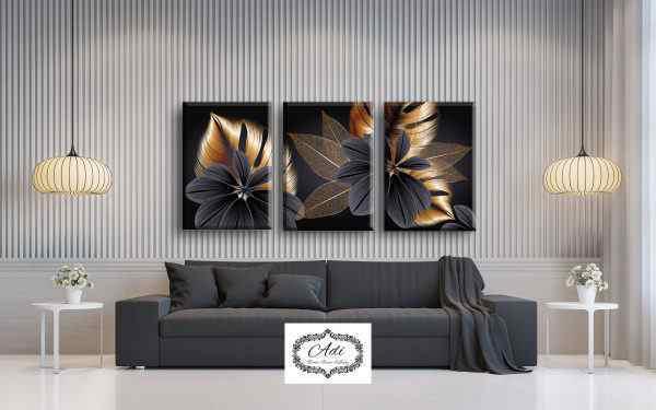 שלישית תמונות עלים בצבע זהב ושחור