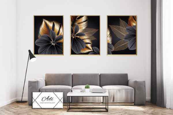 שלישית תמונות פרחים בצבע זהב ושחור