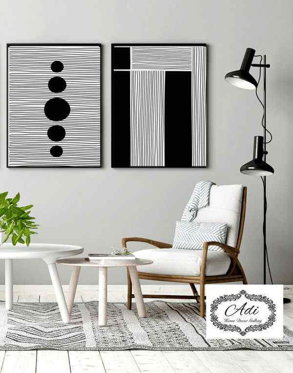 זוג תמונות נורדיות שחור לבן לסלון