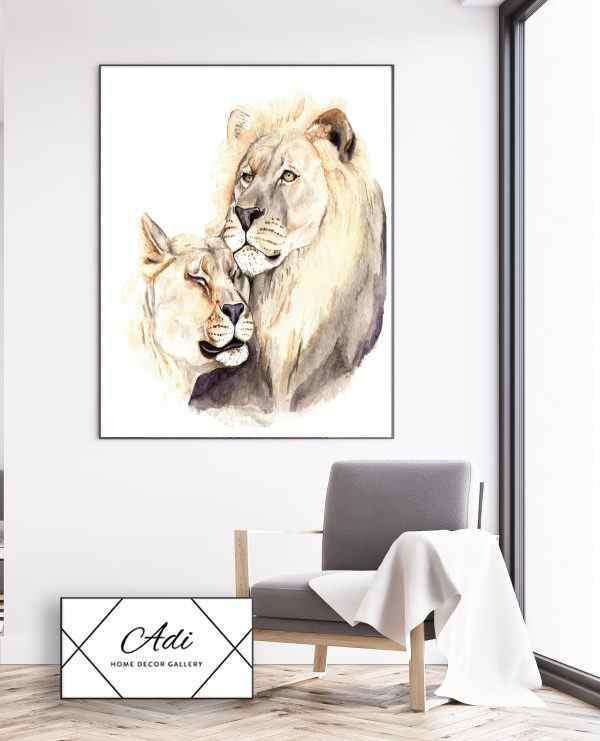 תמונת אריה ולביאה מאוהבים