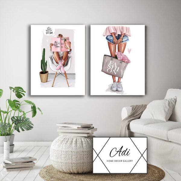 זוג תמונות מעוצבות לחדרי בנות