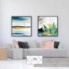 זוג תמונות אומנותיות של מריחות צבע לסלון