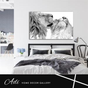 אריה ולביאה באהבה שחור לבן
