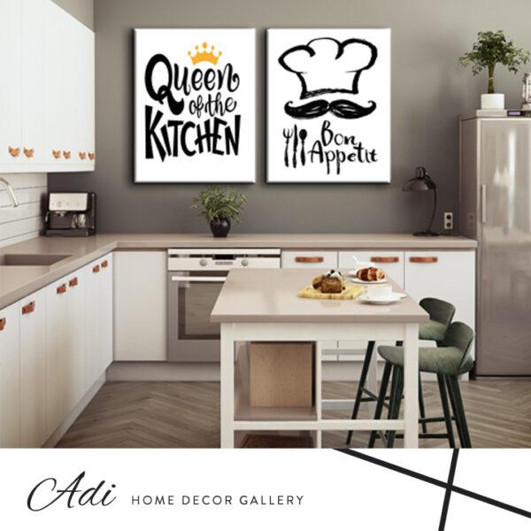 זוג תמונות למטבח עם כיתוב מגניב שלחור לבן וכתר זהב