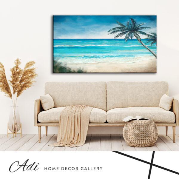 תמונה של ים נוף טורכיז עץ דקל