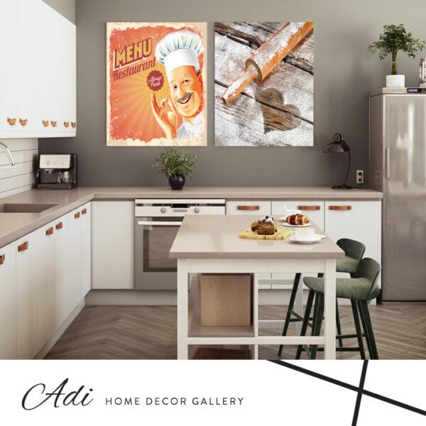 זוג תמונות למטבח תמונה של שף ותמונה של מערוך עם קמח על משטח