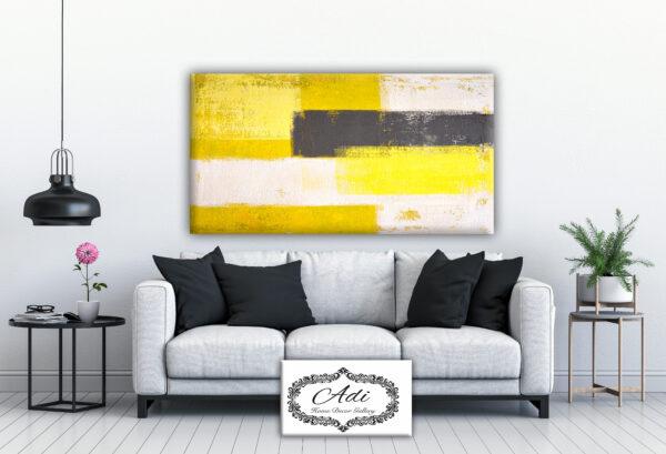 אבסטרקט מריחות צבע בצבעים צהוב אפור לבן