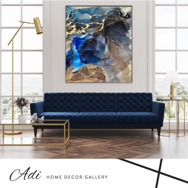 תמונת אבסטרקט יוקרתית כחול חום זהב